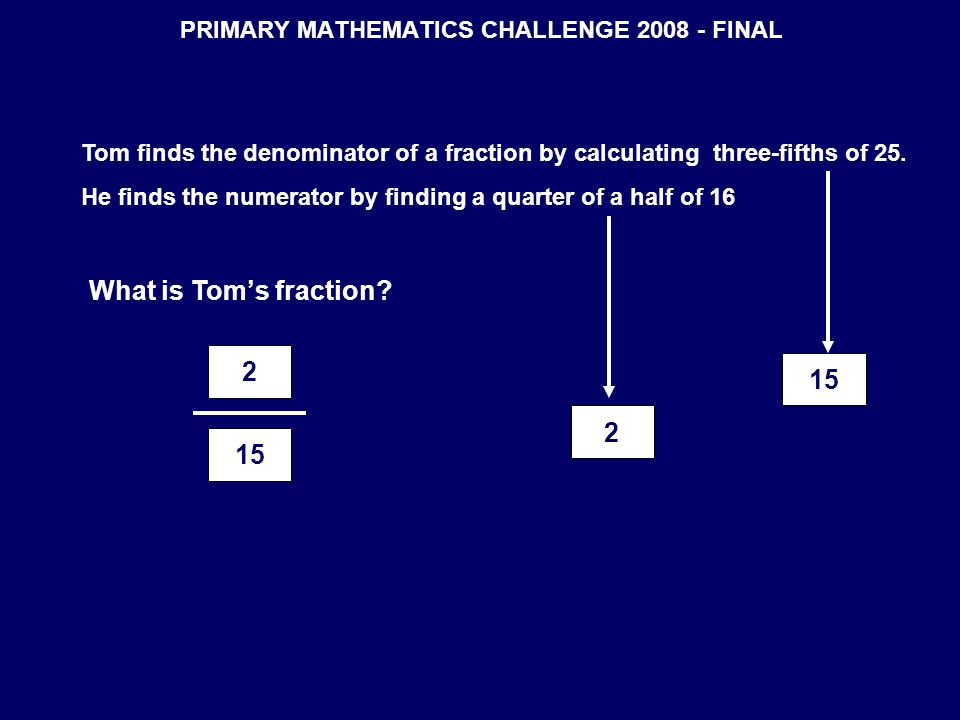 PRIMARY MATHEMATICS CHALLENGE 2008 - FINAL Tom finds the denominator of a fraction by calculating three-fifths of 25. He finds the numerator by findin