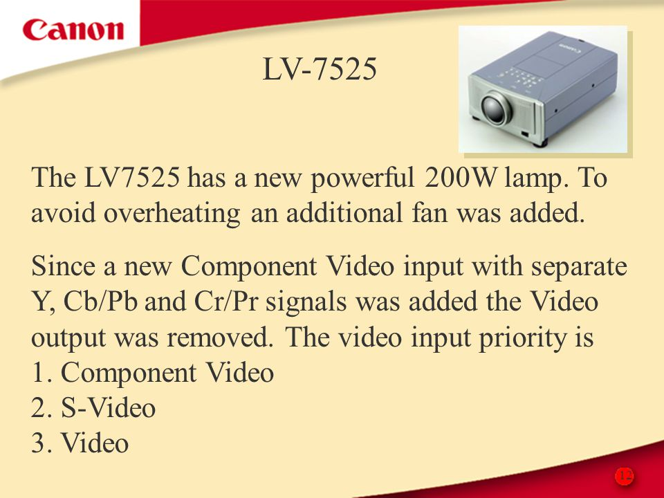 12 LV-7525 The LV7525 has a new powerful 200W lamp. To avoid overheating an additional fan was added. Since a new Component Video input with separate