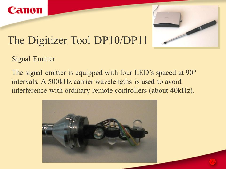 31 The Digitizer Tool DP10/DP11 Signal Emitter The signal emitter is equipped with four LED's spaced at 90° intervals. A 500kHz carrier wavelengths is