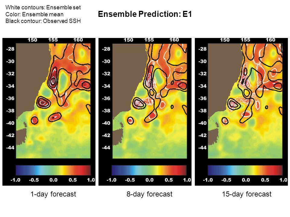 Ensemble Prediction: E1 15-day forecast1-day forecast8-day forecast White contours: Ensemble set Color: Ensemble mean Black contour: Observed SSH