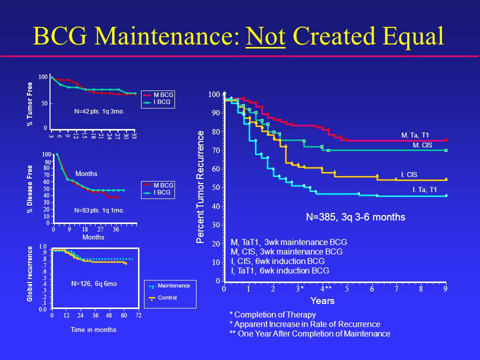 BCG Maintenance: Not Created Equal Years * Completion of Therapy * Apparent Increase in Rate of Recurrence ** One Year After Completion of Maintenance Percent Tumor Recurrence 100 90 80 70 60 50 40 30 20 10 0 M, TaT1, 3wk maintenance BCG M, CIS, 3wk maintenance BCG I, CIS, 6wk induction BCG I, TaT1, 6wk induction BCG M.