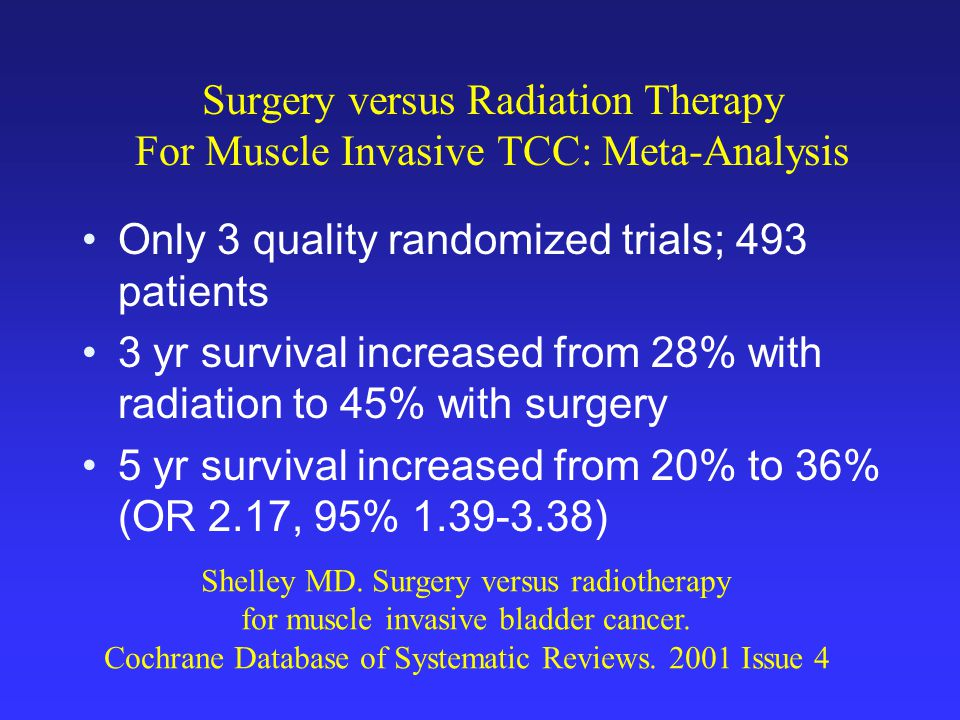 Surgery versus Radiation Therapy For Muscle Invasive TCC: Meta-Analysis Only 3 quality randomized trials; 493 patients 3 yr survival increased from 28% with radiation to 45% with surgery 5 yr survival increased from 20% to 36% (OR 2.17, 95% 1.39-3.38) Shelley MD.