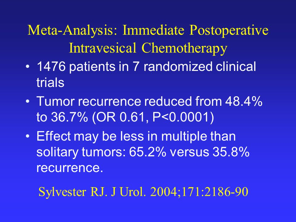 Meta-Analysis: Immediate Postoperative Intravesical Chemotherapy 1476 patients in 7 randomized clinical trials Tumor recurrence reduced from 48.4% to 36.7% (OR 0.61, P<0.0001) Effect may be less in multiple than solitary tumors: 65.2% versus 35.8% recurrence.