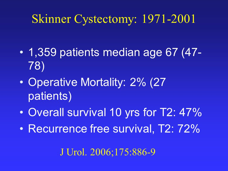 Skinner Cystectomy: 1971-2001 1,359 patients median age 67 (47- 78) Operative Mortality: 2% (27 patients) Overall survival 10 yrs for T2: 47% Recurrence free survival, T2: 72% J Urol.