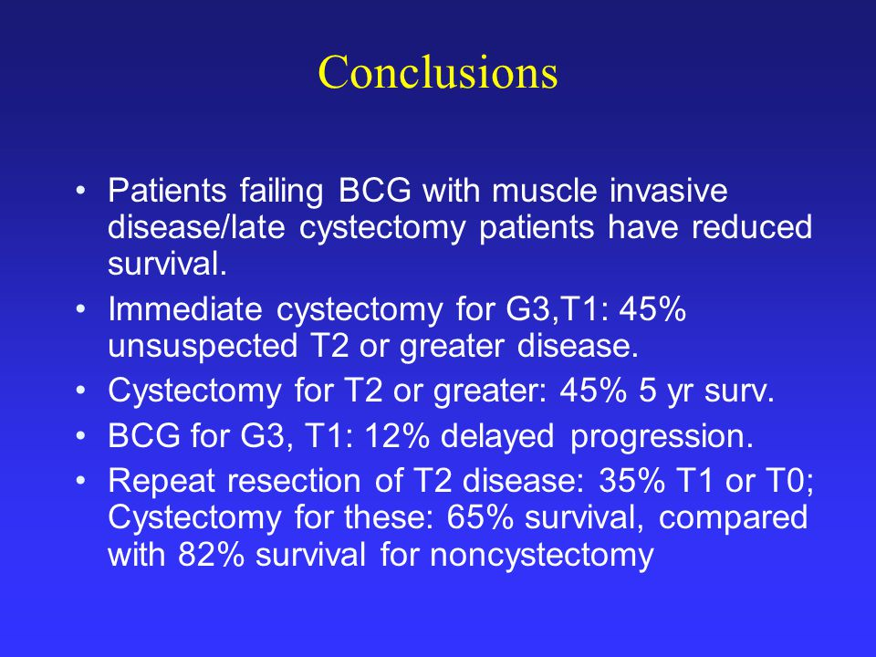 Conclusions Patients failing BCG with muscle invasive disease/late cystectomy patients have reduced survival.