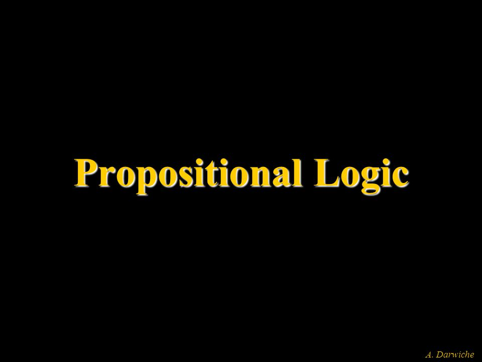 A. Darwiche Propositional Logic