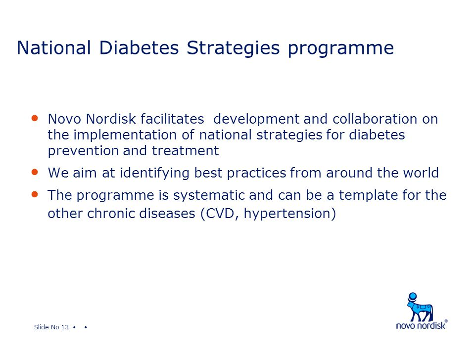 Slide No 13 National Diabetes Strategies programme Novo Nordisk facilitates development and collaboration on the implementation of national strategies for diabetes prevention and treatment We aim at identifying best practices from around the world The programme is systematic and can be a template for the other chronic diseases (CVD, hypertension)