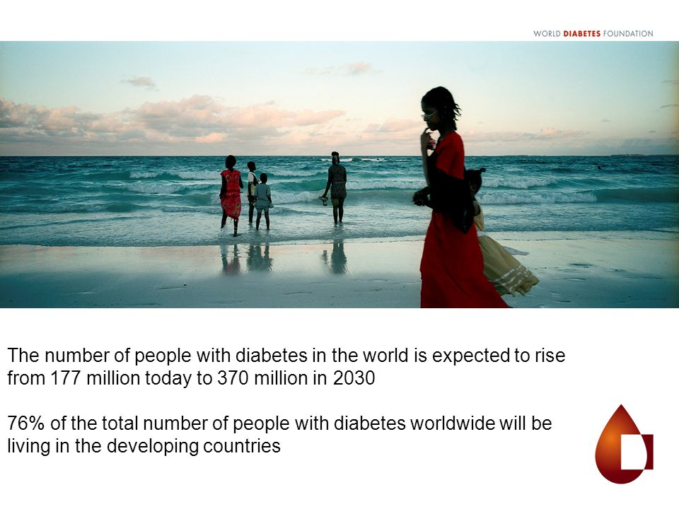 The number of people with diabetes in the world is expected to rise from 177 million today to 370 million in 2030 76% of the total number of people wi