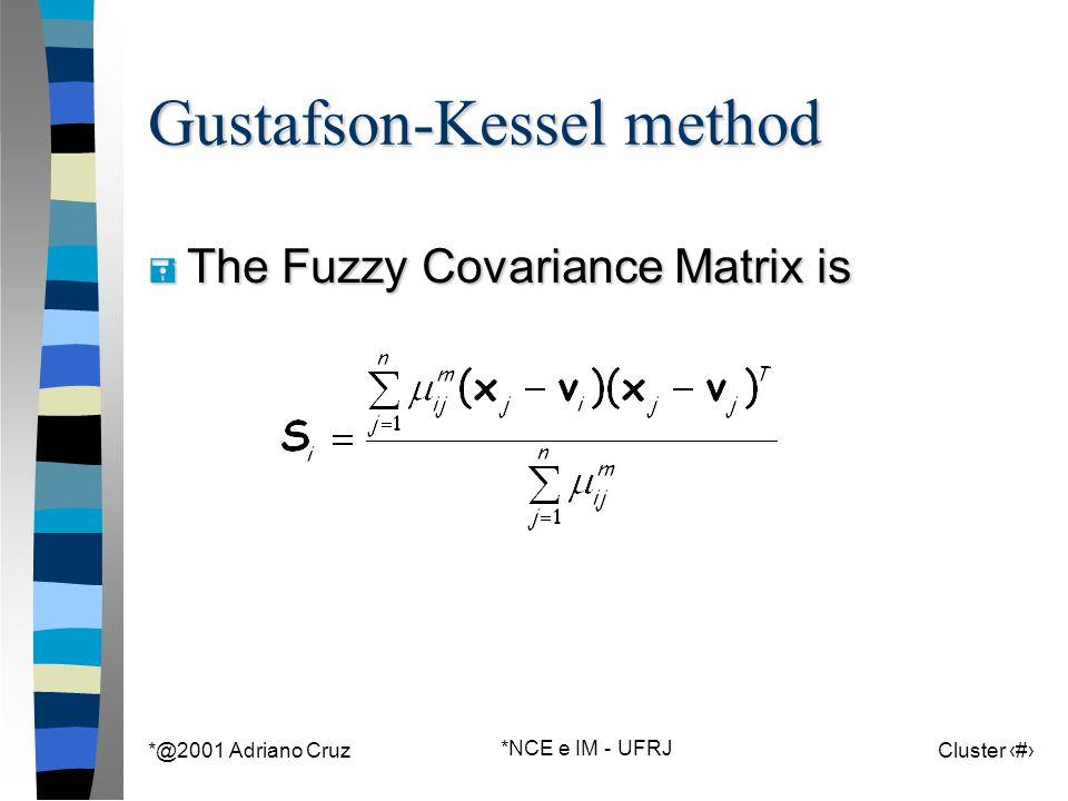 *@2001 Adriano Cruz *NCE e IM - UFRJ Cluster 131 Gustafson-Kessel method = The Fuzzy Covariance Matrix is