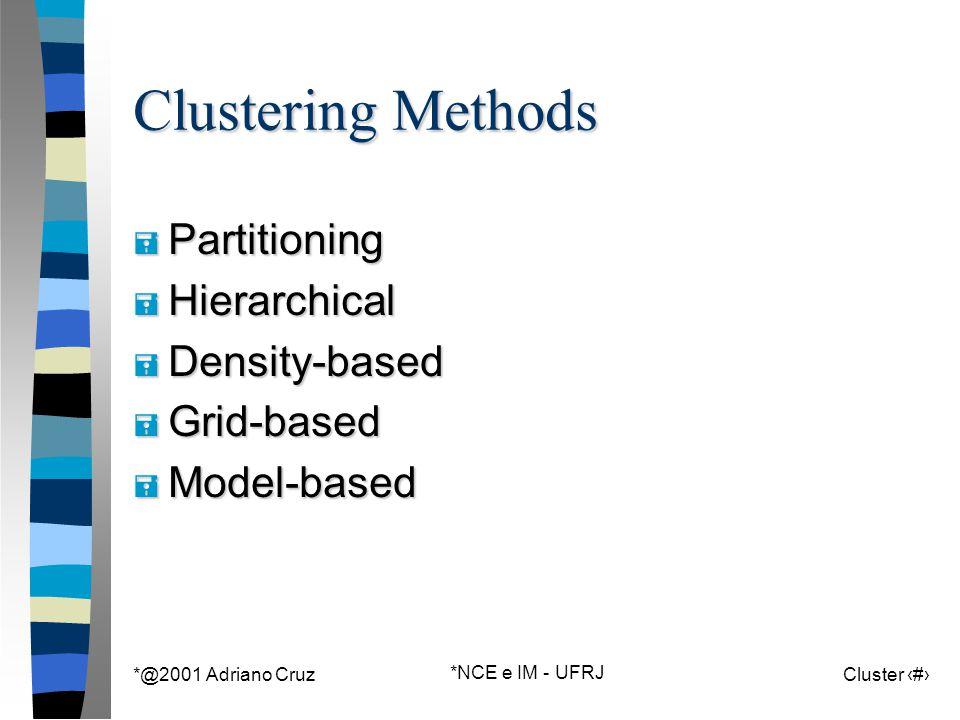 *@2001 Adriano Cruz *NCE e IM - UFRJ Cluster 44 Clustering Methods = Partitioning = Hierarchical = Density-based = Grid-based = Model-based