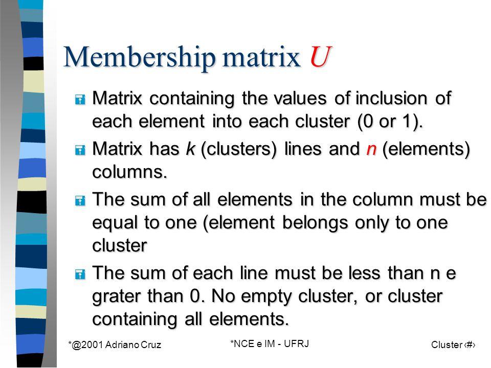 *@2001 Adriano Cruz *NCE e IM - UFRJ Cluster 56 Membership matrix U = Matrix containing the values of inclusion of each element into each cluster (0 o