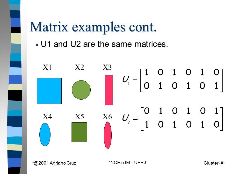 *@2001 Adriano Cruz *NCE e IM - UFRJ Cluster 58 Matrix examples cont. X1X2X3 X4X5X6 U1 and U2 are the same matrices.