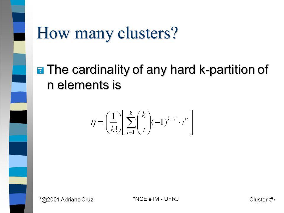 *@2001 Adriano Cruz *NCE e IM - UFRJ Cluster 59 How many clusters.