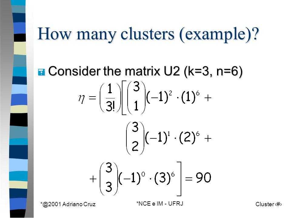 *@2001 Adriano Cruz *NCE e IM - UFRJ Cluster 60 How many clusters (example)? = Consider the matrix U2 (k=3, n=6)