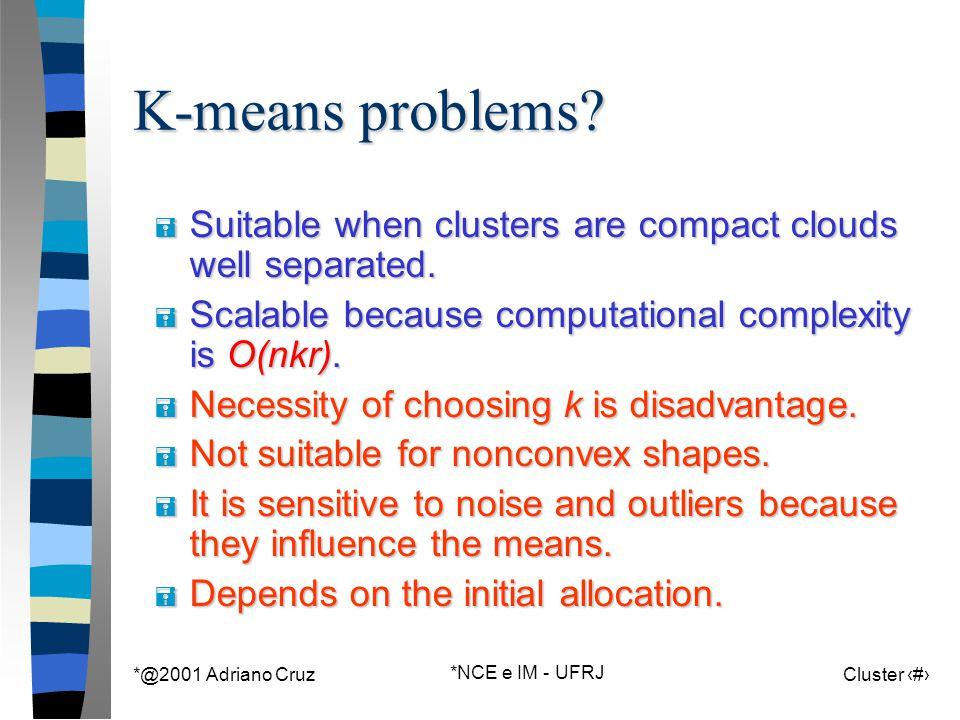 *@2001 Adriano Cruz *NCE e IM - UFRJ Cluster 70 K-means problems.