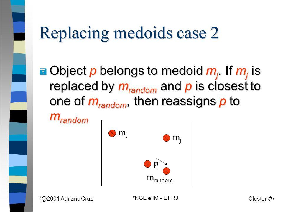 *@2001 Adriano Cruz *NCE e IM - UFRJ Cluster 76 m random Replacing medoids case 2 = Object p belongs to medoid m j. If m j is replaced by m random and