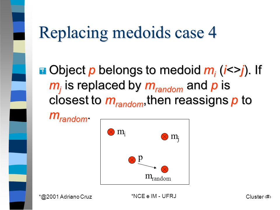 *@2001 Adriano Cruz *NCE e IM - UFRJ Cluster 78 m random Replacing medoids case 4 = Object p belongs to medoid m i (i<>j). If m j is replaced by m ran