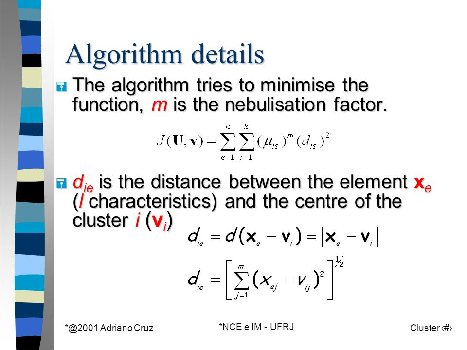 *@2001 Adriano Cruz *NCE e IM - UFRJ Cluster 89 Algorithm details = The algorithm tries to minimise the function, m is the nebulisation factor. = d ie
