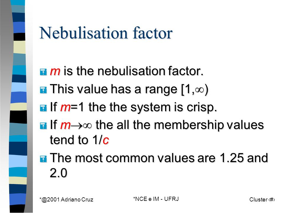 *@2001 Adriano Cruz *NCE e IM - UFRJ Cluster 90 Nebulisation factor = m is the nebulisation factor. = This value has a range [1,  ) = If m=1 the the
