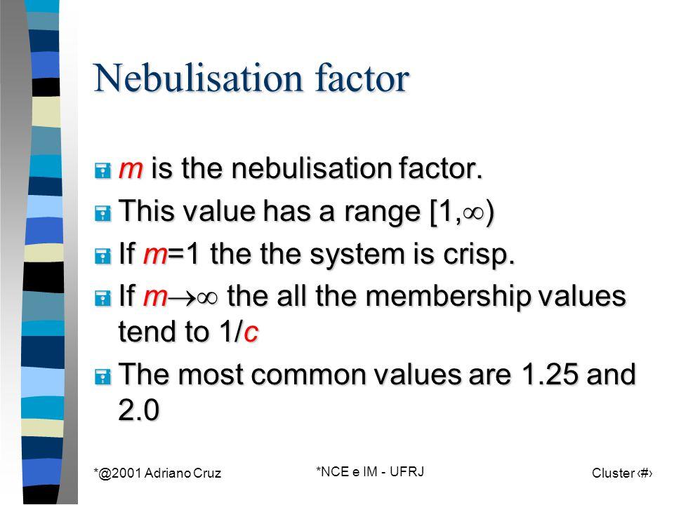 *@2001 Adriano Cruz *NCE e IM - UFRJ Cluster 90 Nebulisation factor = m is the nebulisation factor.