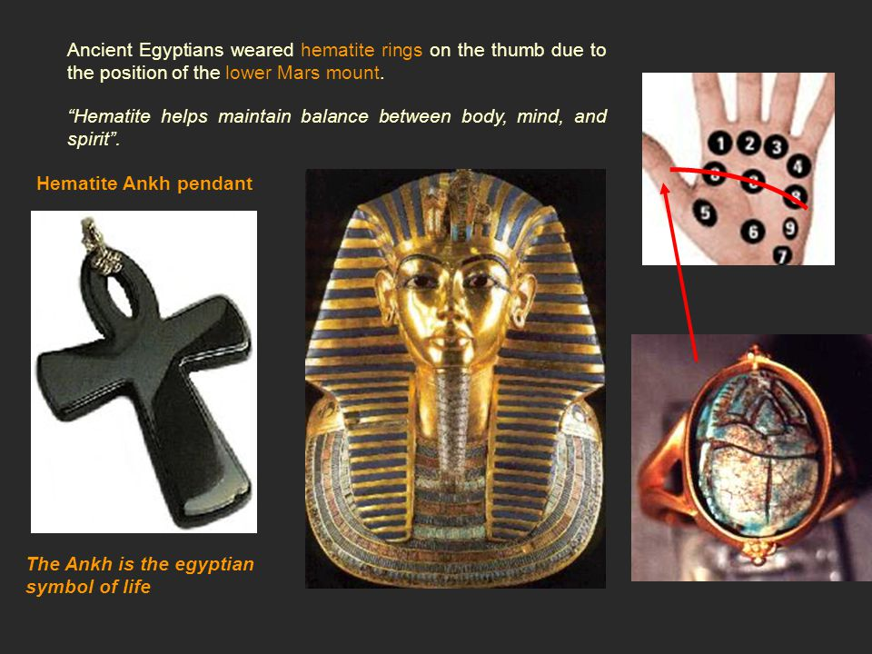 Ancient Egyptians weared hematite rings on the thumb due to the position of the lower Mars mount.
