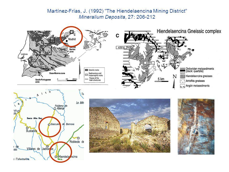 Martínez-Frías, J. (1992) The Hiendelaencina Mining District Mineralium Deposita, 27: 206-212
