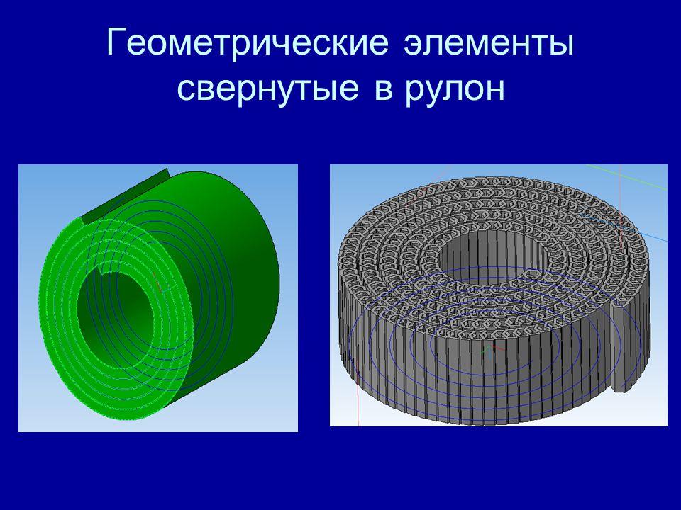 Геометрические элементы свернутые в рулон