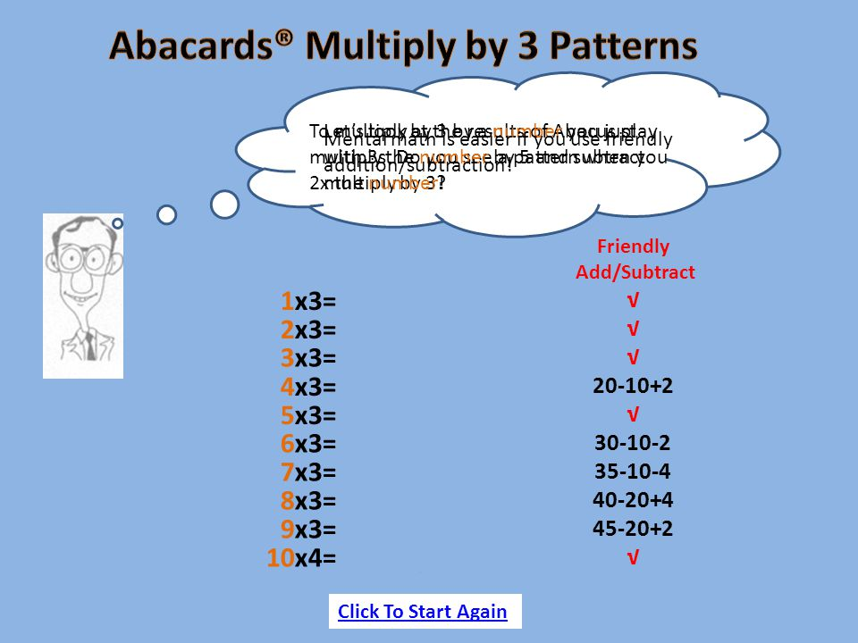 10x4= easy =30 Let's look at the results of Abacus play with 3s Do you see a pattern when you multiply by 3? To multiply by 3 by a number you just mul