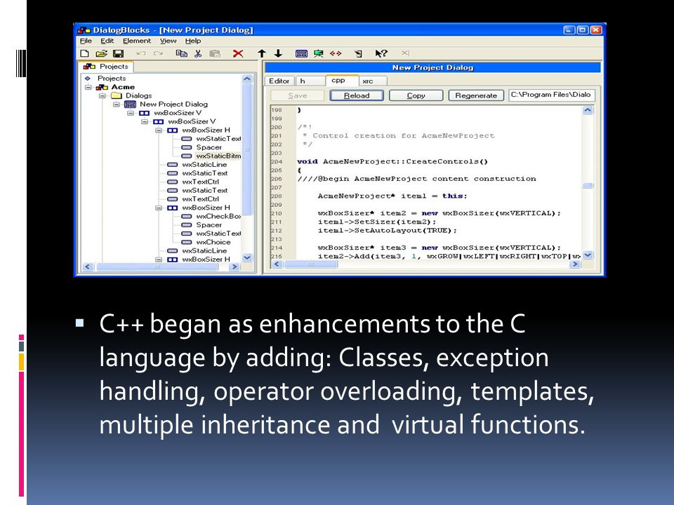  C++ began as enhancements to the C language by adding: Classes, exception handling, operator overloading, templates, multiple inheritance and virtual functions.