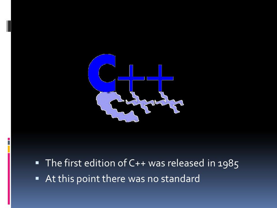  The first edition of C++ was released in 1985  At this point there was no standard