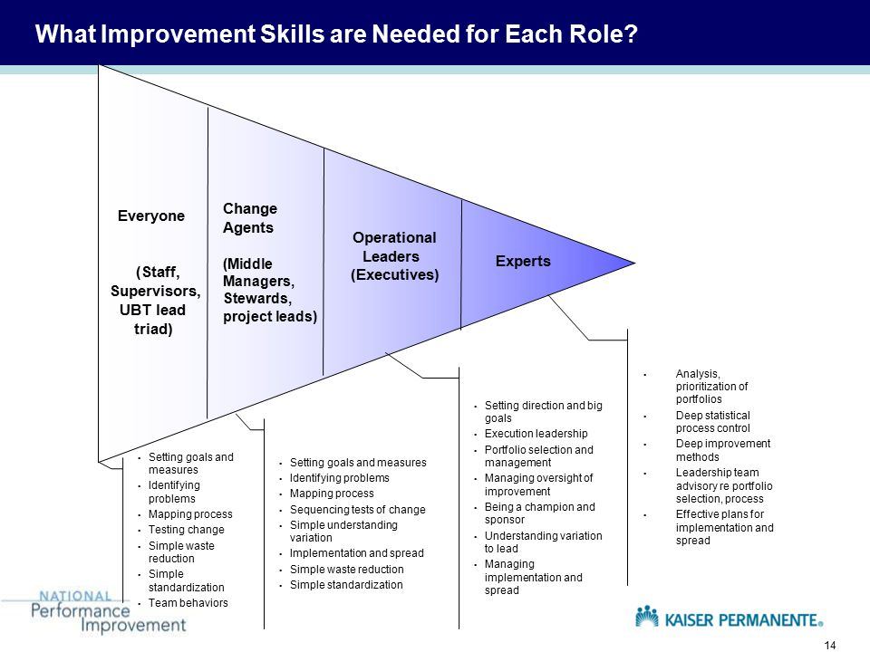 14 What Improvement Skills are Needed for Each Role.