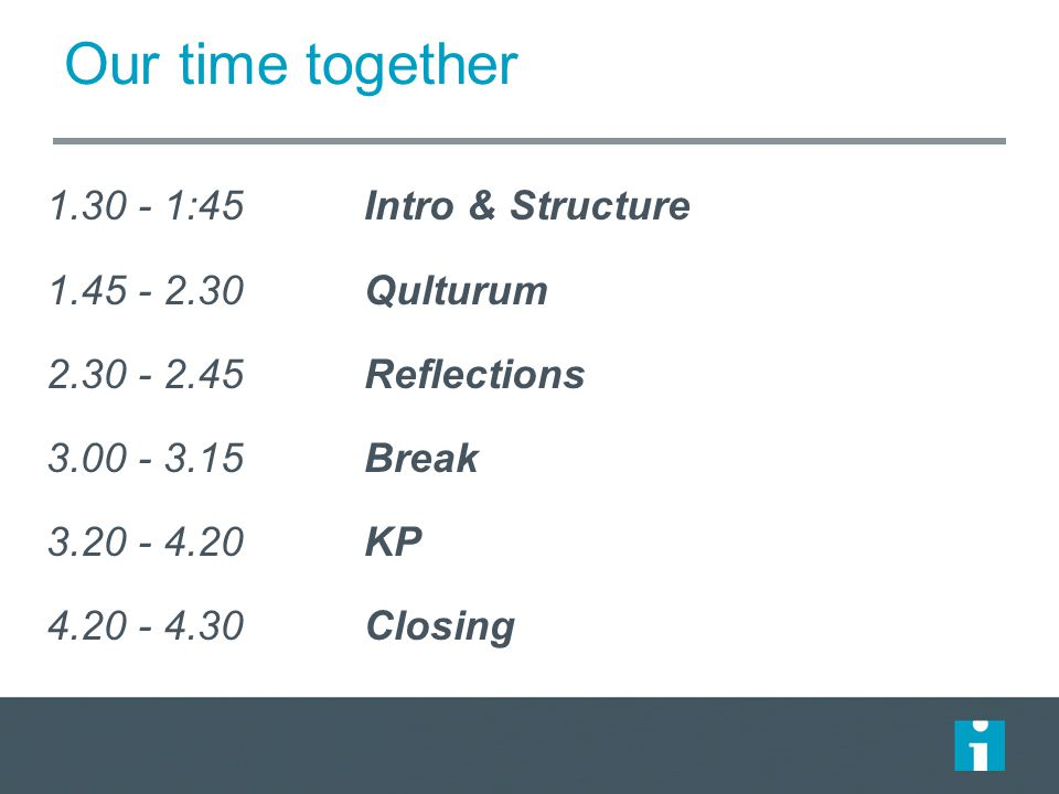 Our time together 1.30 - 1:45 Intro & Structure 1.45 - 2.30 Qulturum 2.30 - 2.45 Reflections 3.00 - 3.15Break 3.20 - 4.20KP 4.20 - 4.30 Closing