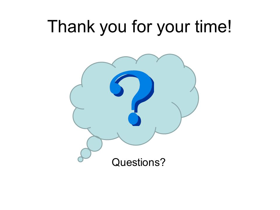 Thank you for your time! Questions?