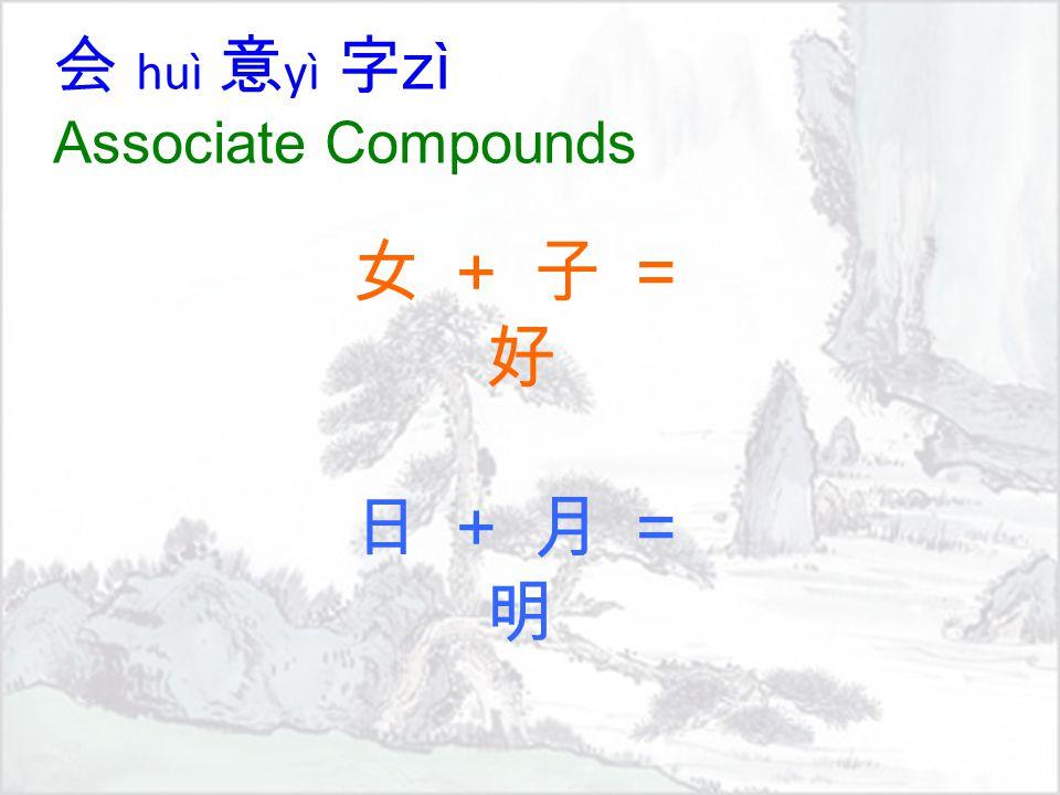 会 huì 意 yì 字 zì Associate Compounds 女 + 子 =好 日 + 月 =明女 + 子 =好 日 + 月 =明