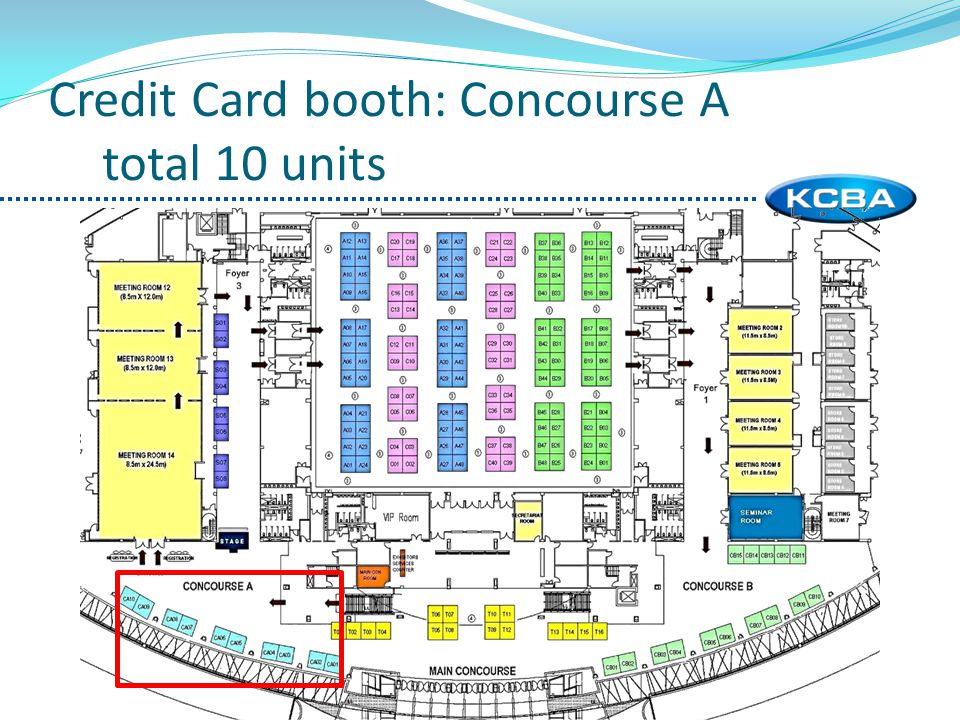 Credit Card booth: Concourse A total 10 units