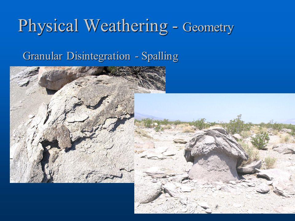 Physical Weathering - Geometry Granular Disintegration - Spalling