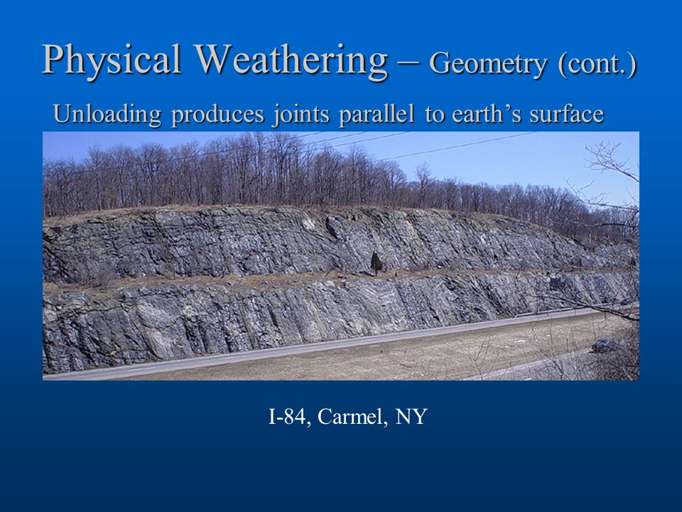Physical Weathering – Geometry (cont.) Unloading produces joints parallel to earth's surface I-84, Carmel, NY