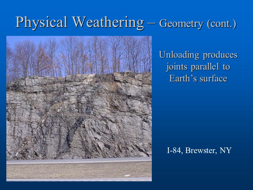 Physical Weathering – Geometry (cont.) Unloading produces joints parallel to Earth's surface I-84, Brewster, NY