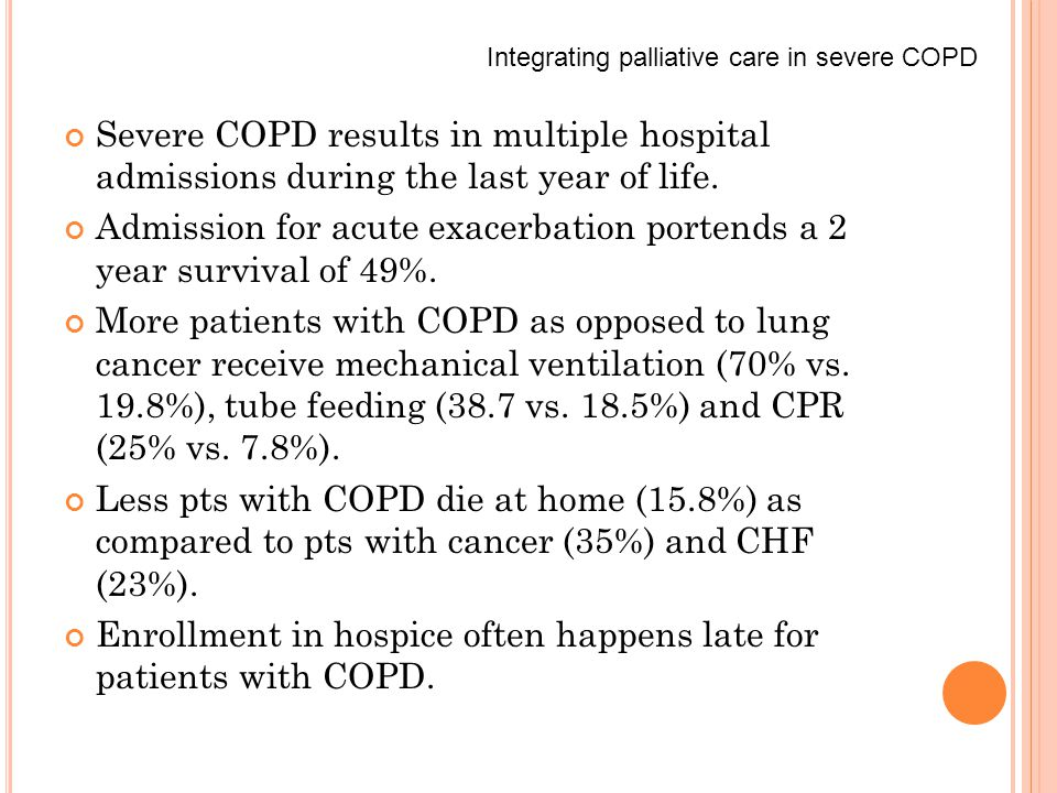 Severe COPD results in multiple hospital admissions during the last year of life.