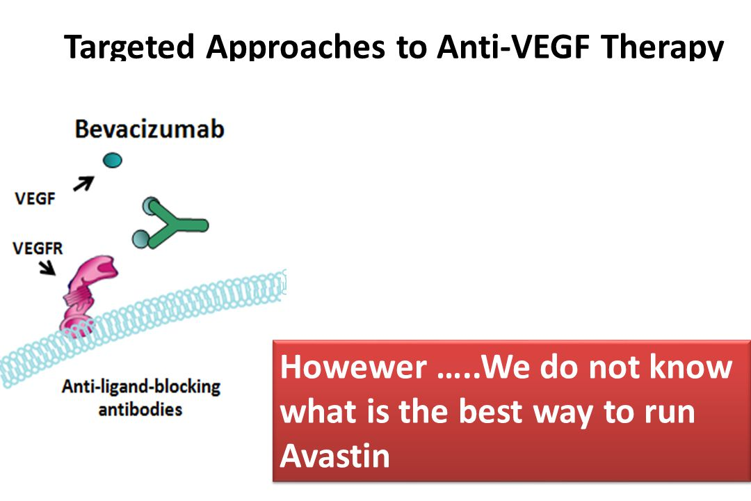 Targeted Approaches to Anti-VEGF Therapy Anti-receptor- blocking antibodies Anti-ligand-blocking antibodies Tyrosine kinase inhibitors Bevacizumab Nintedanib Ramucirumab VEGF VEGFR Howewer …..We do not know what is the best way to run Avastin