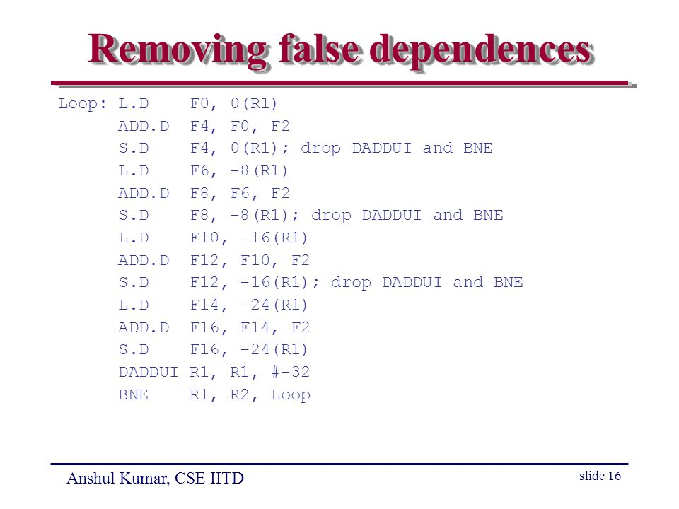 Anshul Kumar, CSE IITD slide 16 Removing false dependences Loop: L.D F0, 0(R1) ADD.D F4, F0, F2 S.D F4, 0(R1); drop DADDUI and BNE L.D F6, -8(R1) ADD.D F8, F6, F2 S.D F8, -8(R1); drop DADDUI and BNE L.D F10, -16(R1) ADD.D F12, F10, F2 S.D F12, -16(R1); drop DADDUI and BNE L.D F14, -24(R1) ADD.D F16, F14, F2 S.D F16, -24(R1) DADDUI R1, R1, #-32 BNE R1, R2, Loop