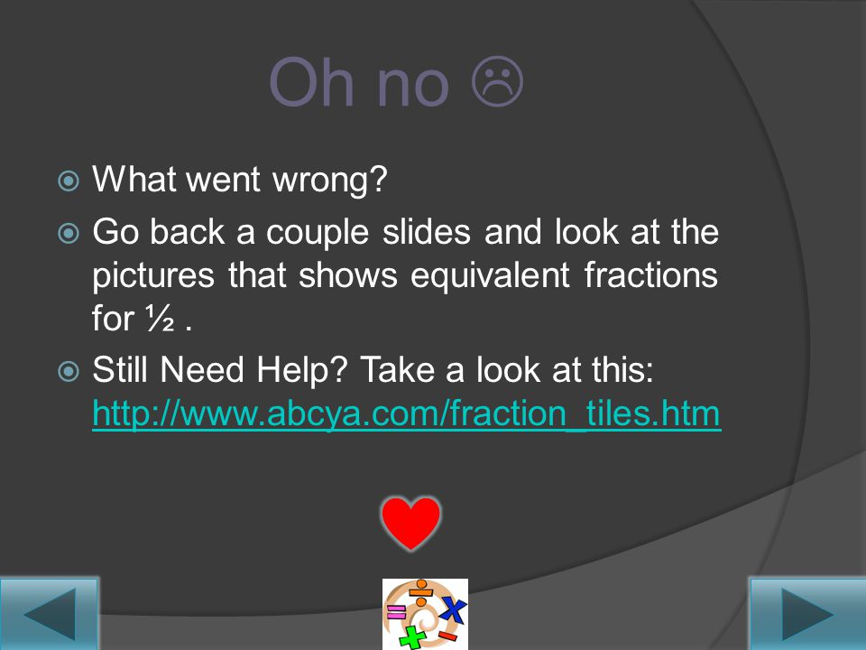 Equivalent Fraction Review  http://www.abcya.com/ fraction_tiles.htm http://www.abcya.com/ fraction_tiles.htm  Use the website above to create equiv