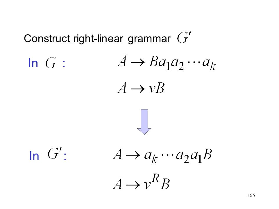 165 Construct right-linear grammar In :