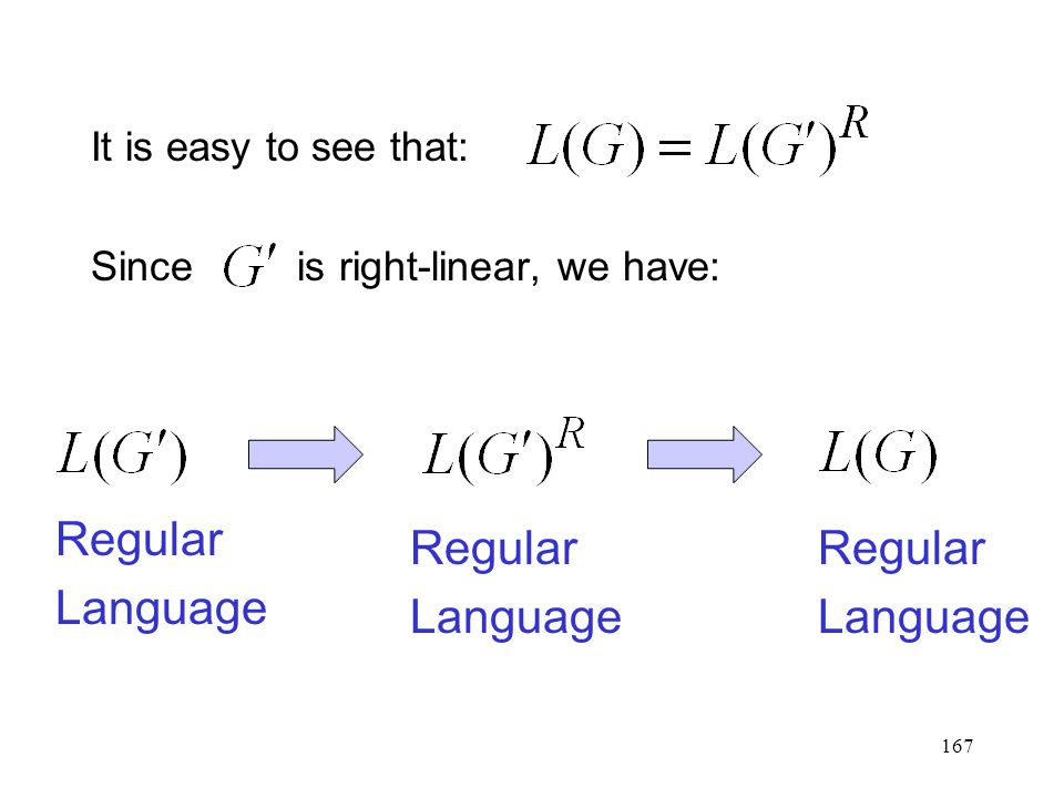 167 It is easy to see that: Since is right-linear, we have: Regular Language Regular Language Regular Language