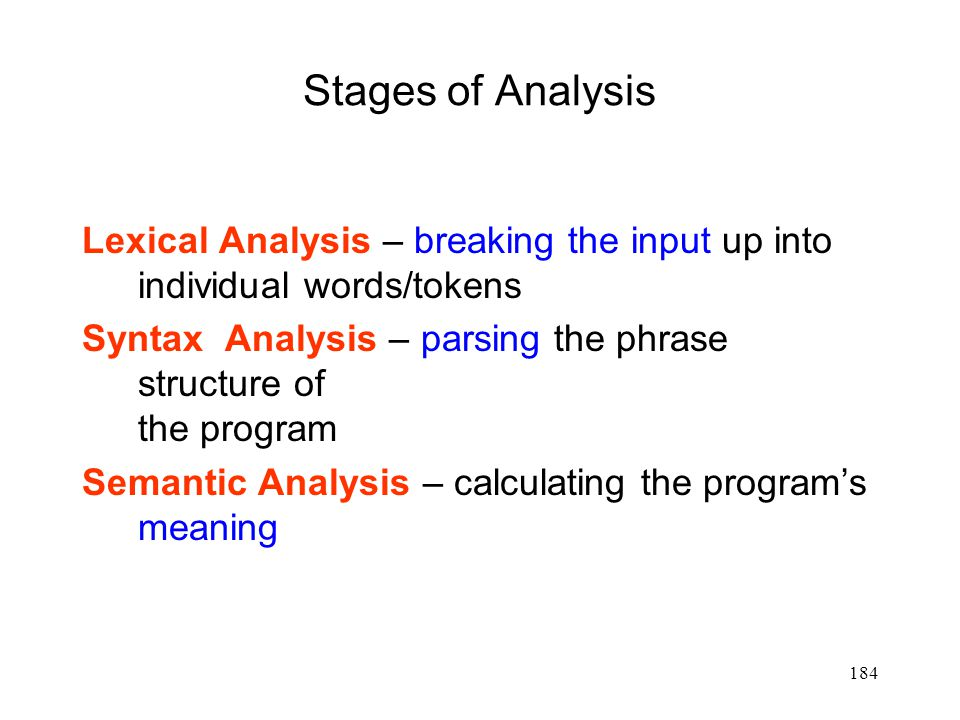 184 Stages of Analysis Lexical Analysis – breaking the input up into individual words/tokens Syntax Analysis – parsing the phrase structure of the program Semantic Analysis – calculating the program's meaning