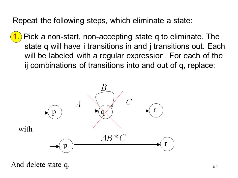 65 Repeat the following steps, which eliminate a state: 1.