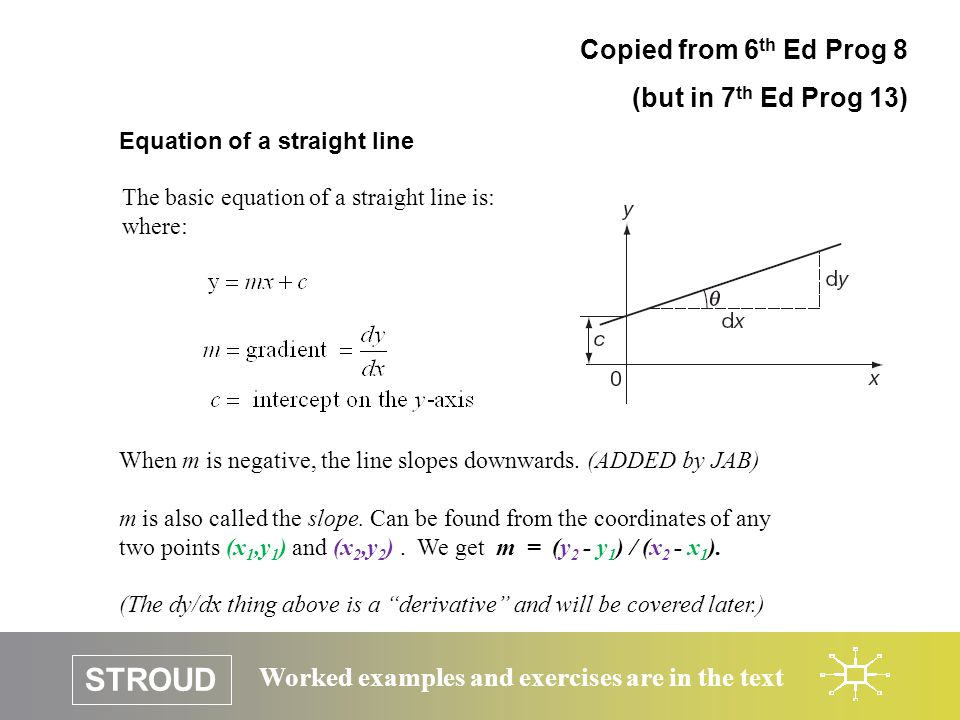 STROUD Worked examples and exercises are in the text Equation of a straight line Copied from 6 th Ed Prog 8 (but in 7 th Ed Prog 13) The basic equation of a straight line is: where: When m is negative, the line slopes downwards.