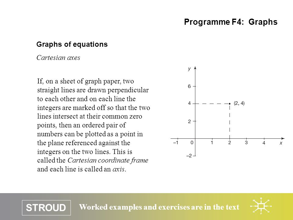 STROUD Worked examples and exercises are in the text Graphs of equations Cartesian axes Programme F4: Graphs If, on a sheet of graph paper, two straight lines are drawn perpendicular to each other and on each line the integers are marked off so that the two lines intersect at their common zero points, then an ordered pair of numbers can be plotted as a point in the plane referenced against the integers on the two lines.
