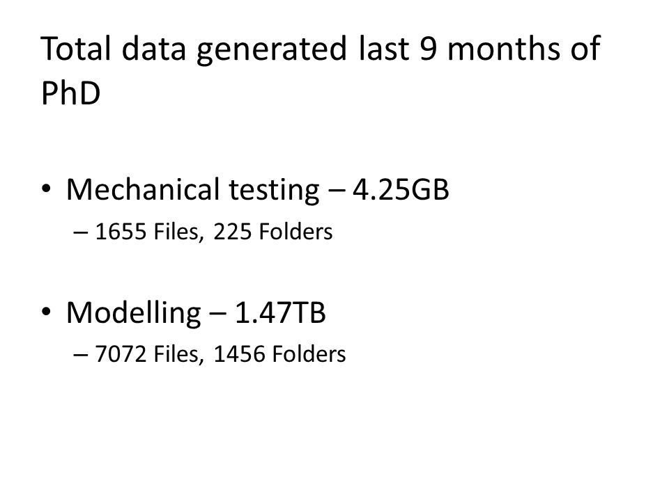 Total data generated last 9 months of PhD Mechanical testing – 4.25GB – 1655 Files, 225 Folders Modelling – 1.47TB – 7072 Files, 1456 Folders