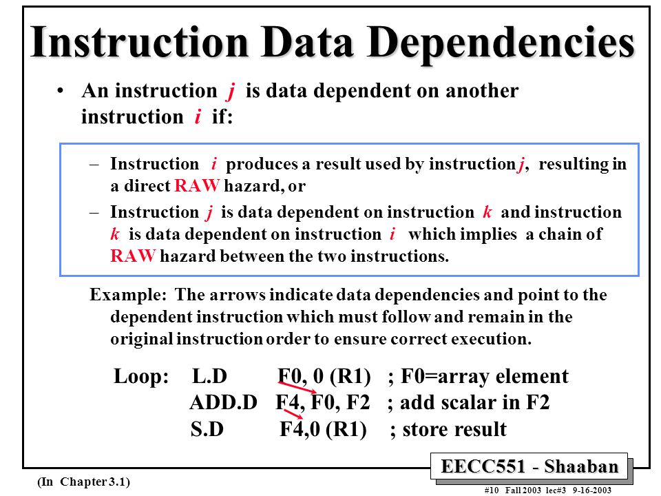 EECC551 - Shaaban #10 Fall 2003 lec#3 9-16-2003 Instruction Data Dependencies An instruction j is data dependent on another instruction i if: –Instruc